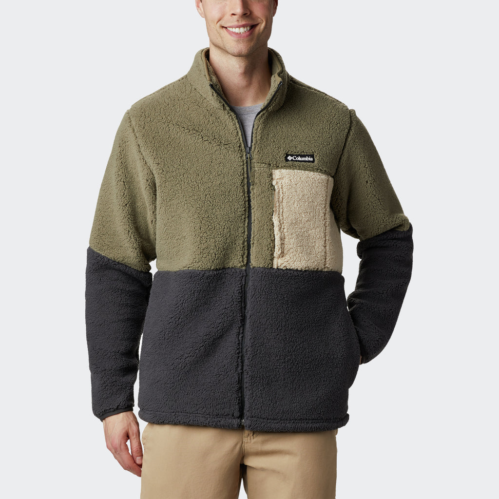 Men's Columbia Mountainside Heavyweight Sherpa Fleece Jacket Stone Green