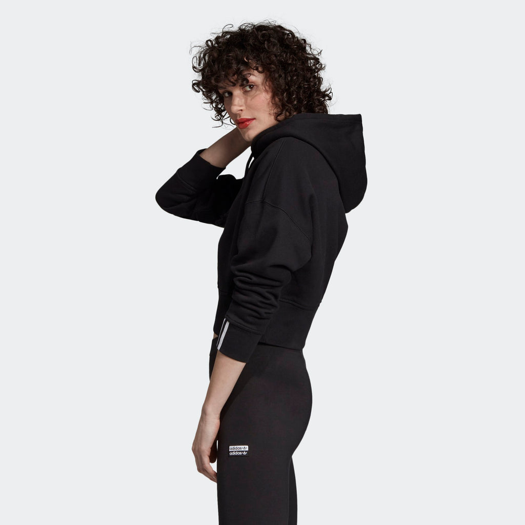 Women's adidas Originals Cropped Black Hoodie Striped Cuffs