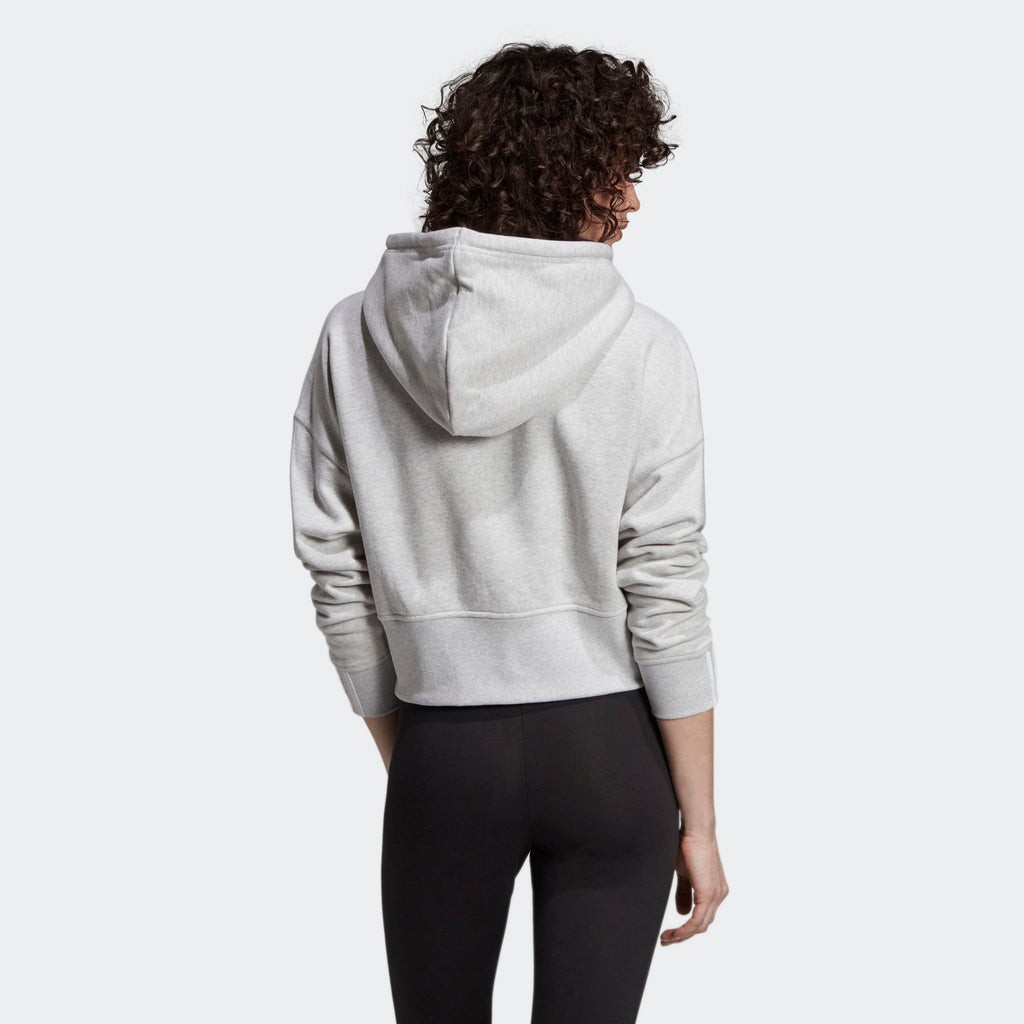 Women's adidas Originals Cropped Grey Hoodie Striped Cuffs