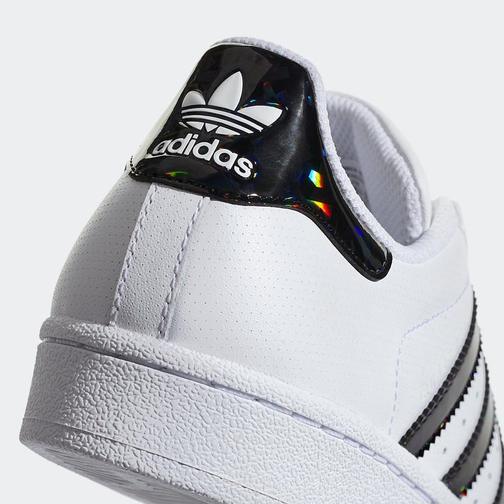 Kid's adidas Originals Superstar Shoes White with Holographic Black