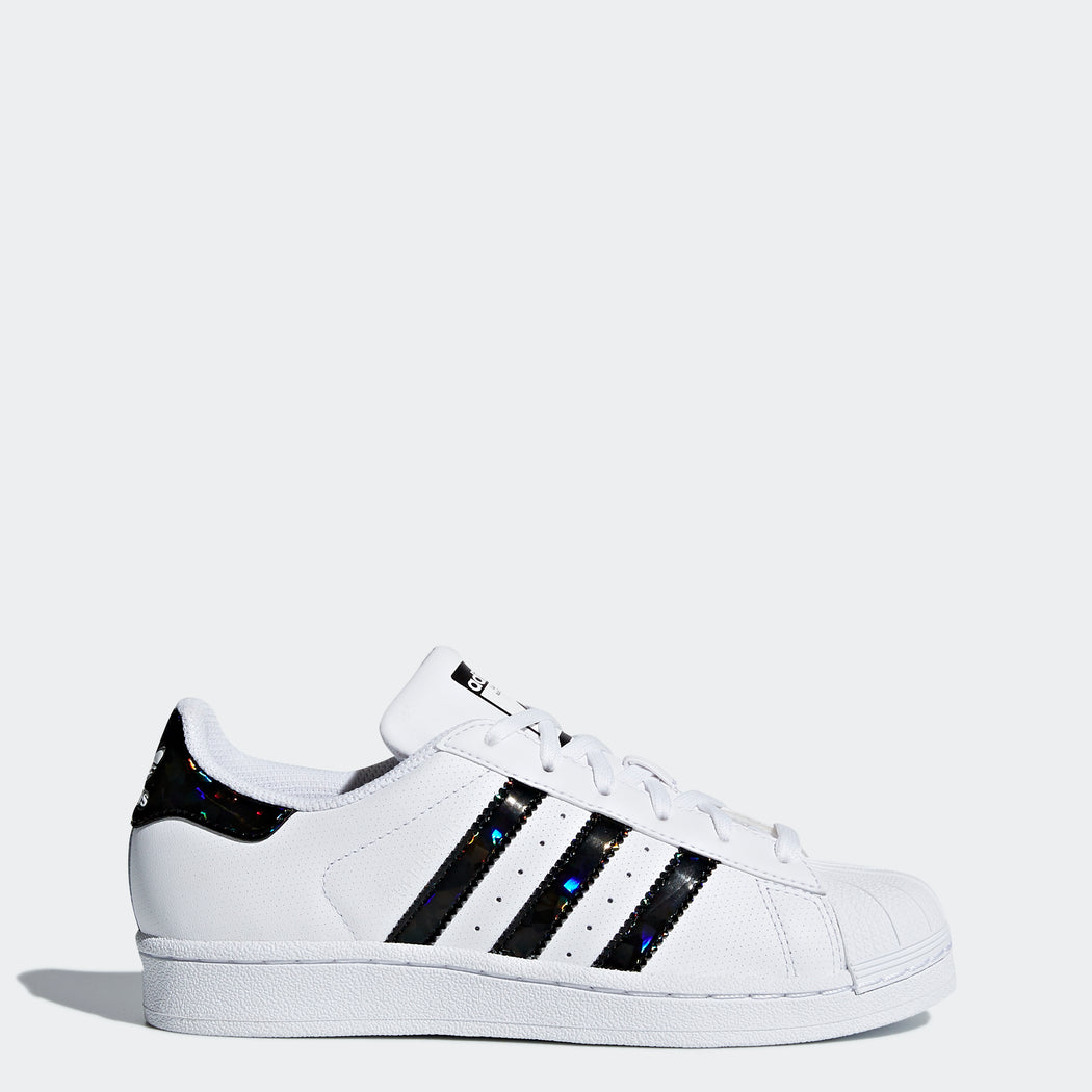 18e8f4083fff ... wholesale kids adidas originals superstar shoes white with holographic  black 612d0 8cc9f