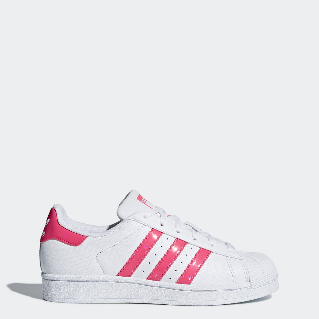 Kid's adidas Originals Superstar Shoes White with Real Pink