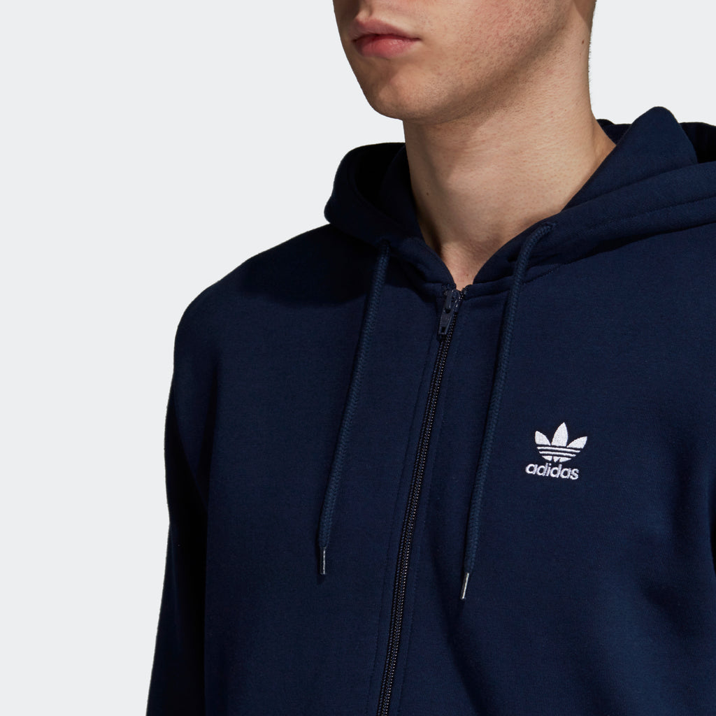 Men's adidas Originals Fleece Trefoil Hoodie Navy