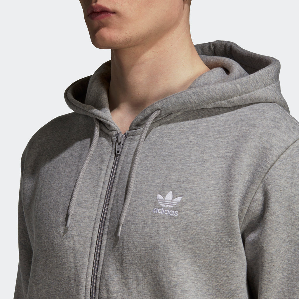 Men's adidas Originals Fleece Trefoil Hoodie Grey