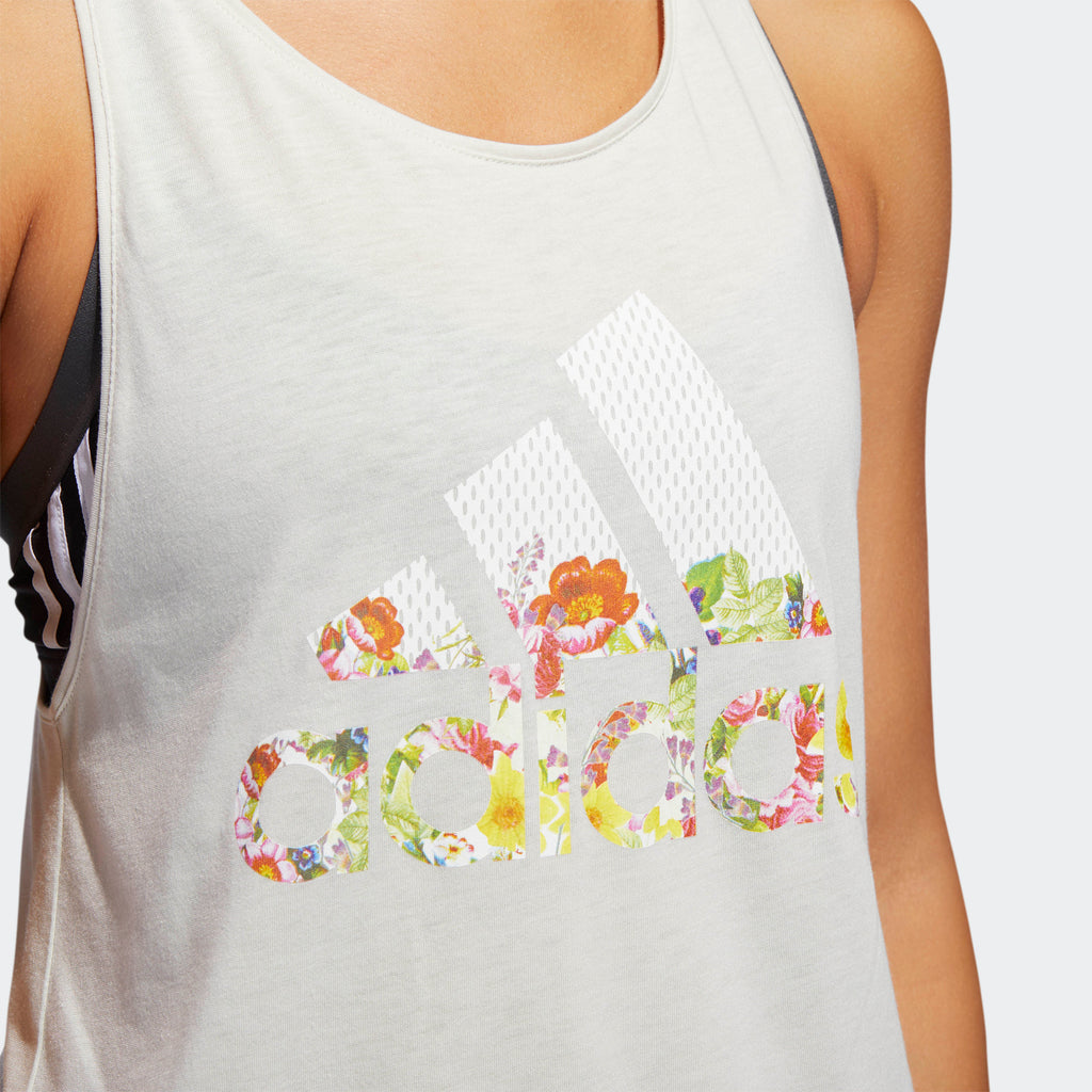 Women's adidas Floral Essentials Tank White