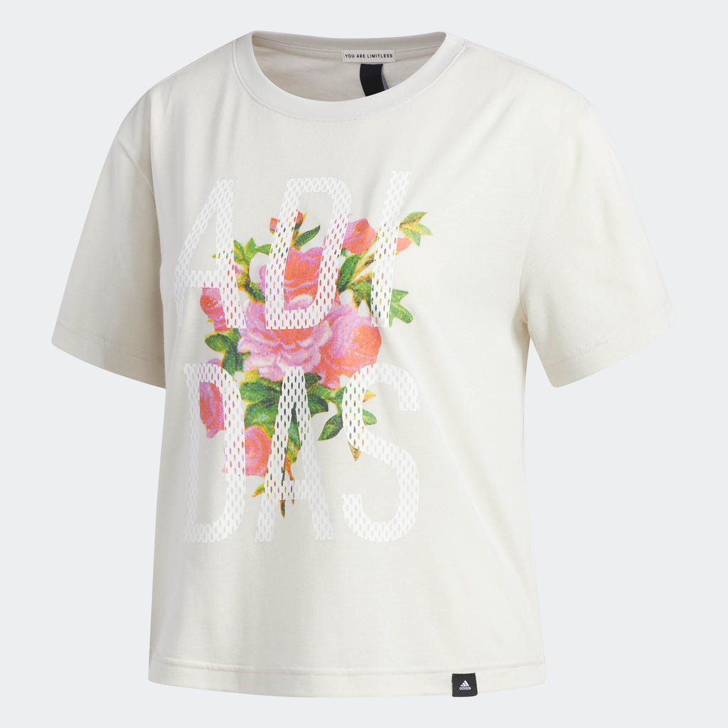 Women's adidas Floral Essentials Tee White