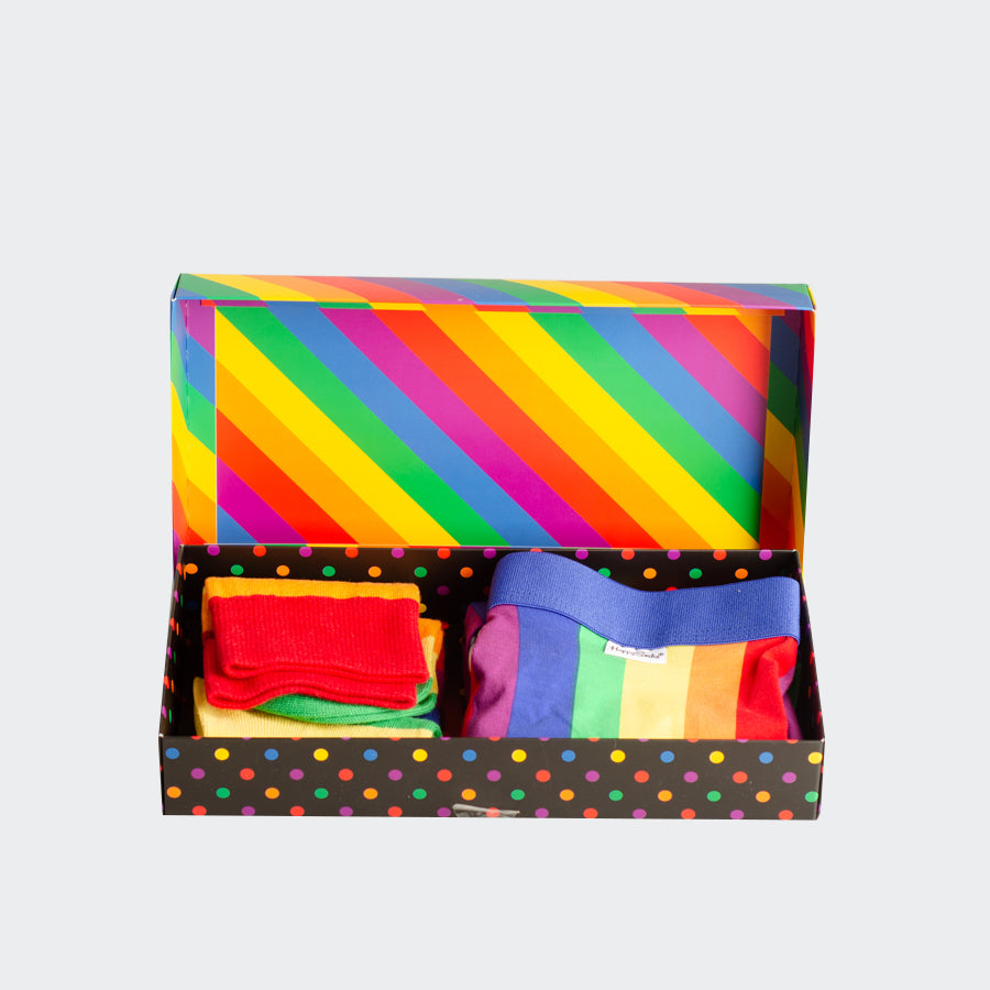 Men's Happy Socks Pride Rainbow Striped Socks & Boxer Briefs Gift Box