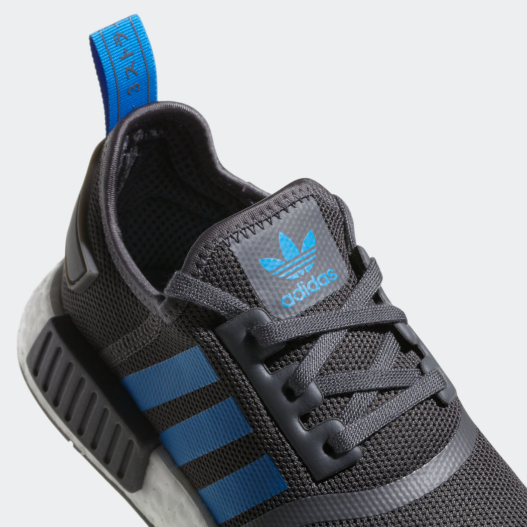 Kid's Adidas Originals NMD_R1 Shoes Grey Bright Blue