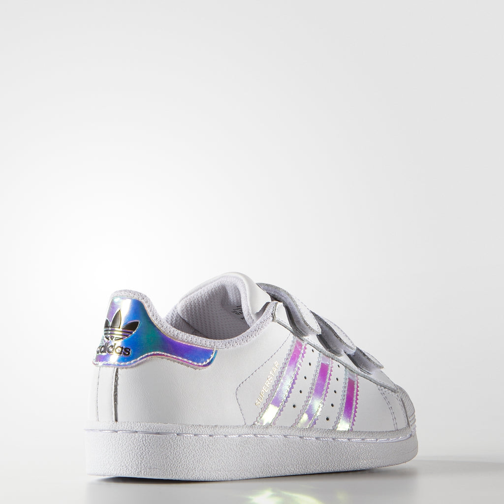 Kid's adidas Originals Superstar Velcro Shoes White Hologram Iridescent AQ6279 | Chicago City Sports | diagonal rear view