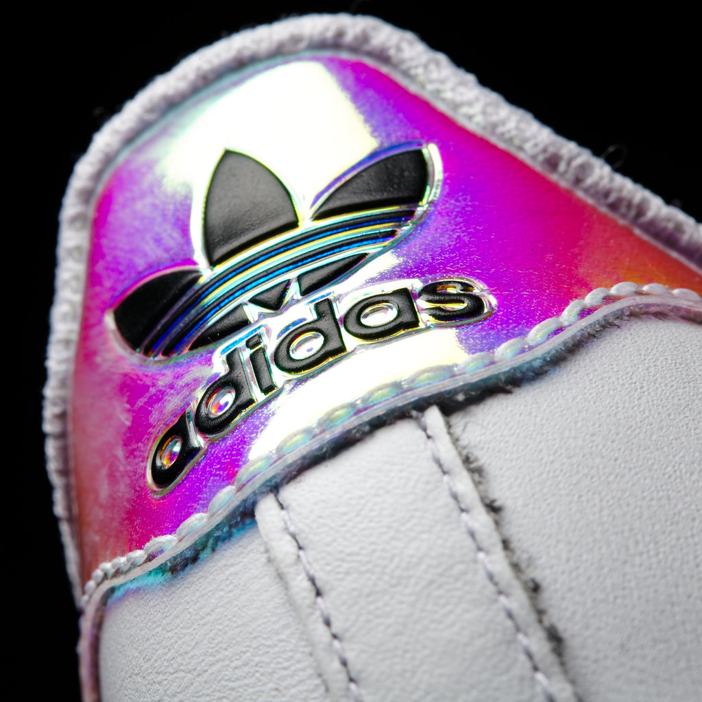 Kid's adidas Originals Superstar Velcro Shoes White Hologram Iridescent AQ6279 | Chicago City Sports | heel tab view