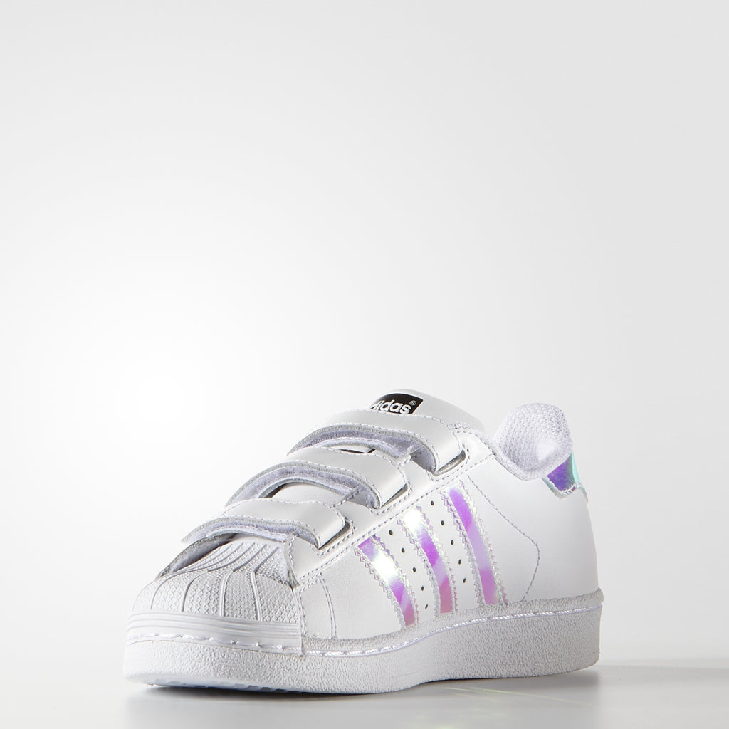 Kid's adidas Originals Superstar Velcro Shoes White Hologram Iridescent AQ6279 | Chicago City Sports | front view