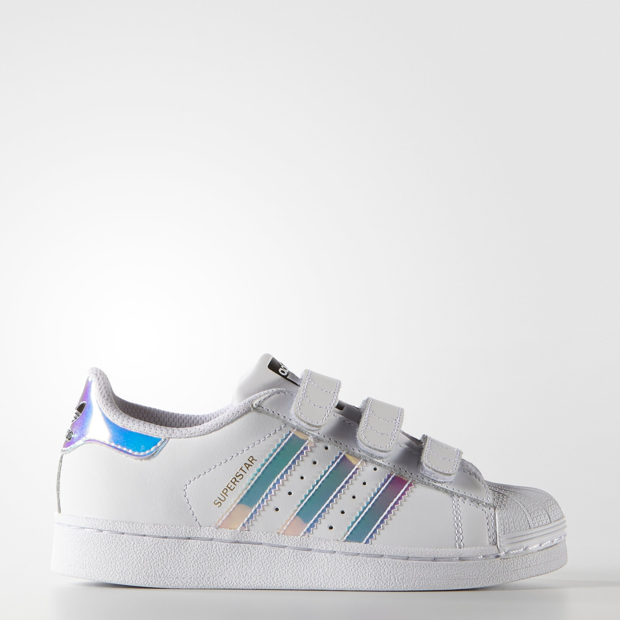 9aa724802e8b Kid s adidas Originals Superstar Velcro Shoes White Hologram Iridescent