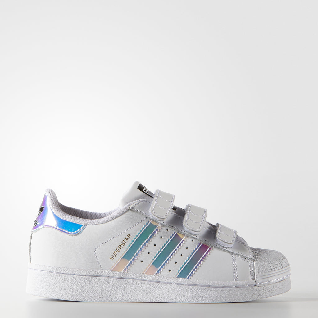 Kid's adidas Originals Superstar Velcro Shoes White Hologram Iridescent AQ6279 | Chicago City Sports | side view