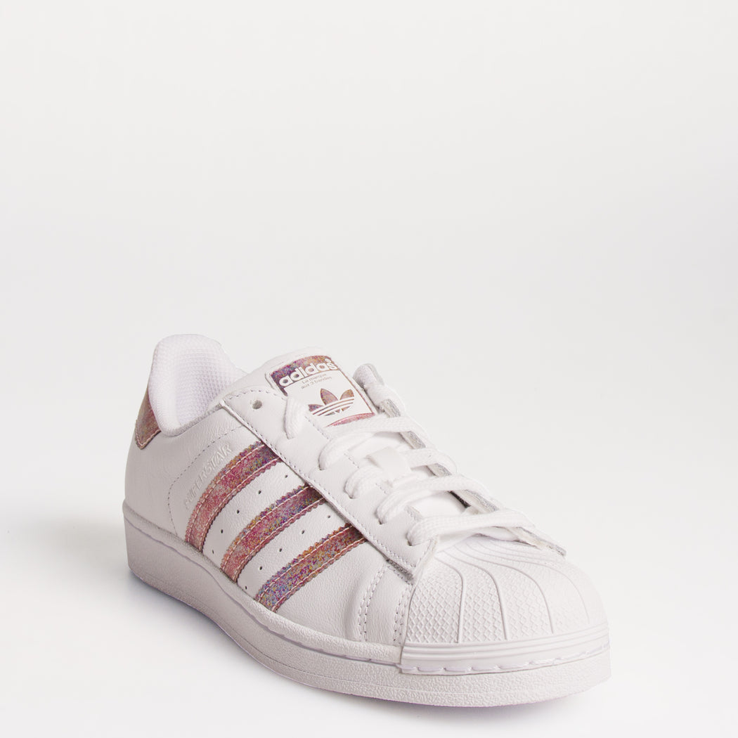 Kid's Adidas Originals Superstar Shoes White Pink Iridescent