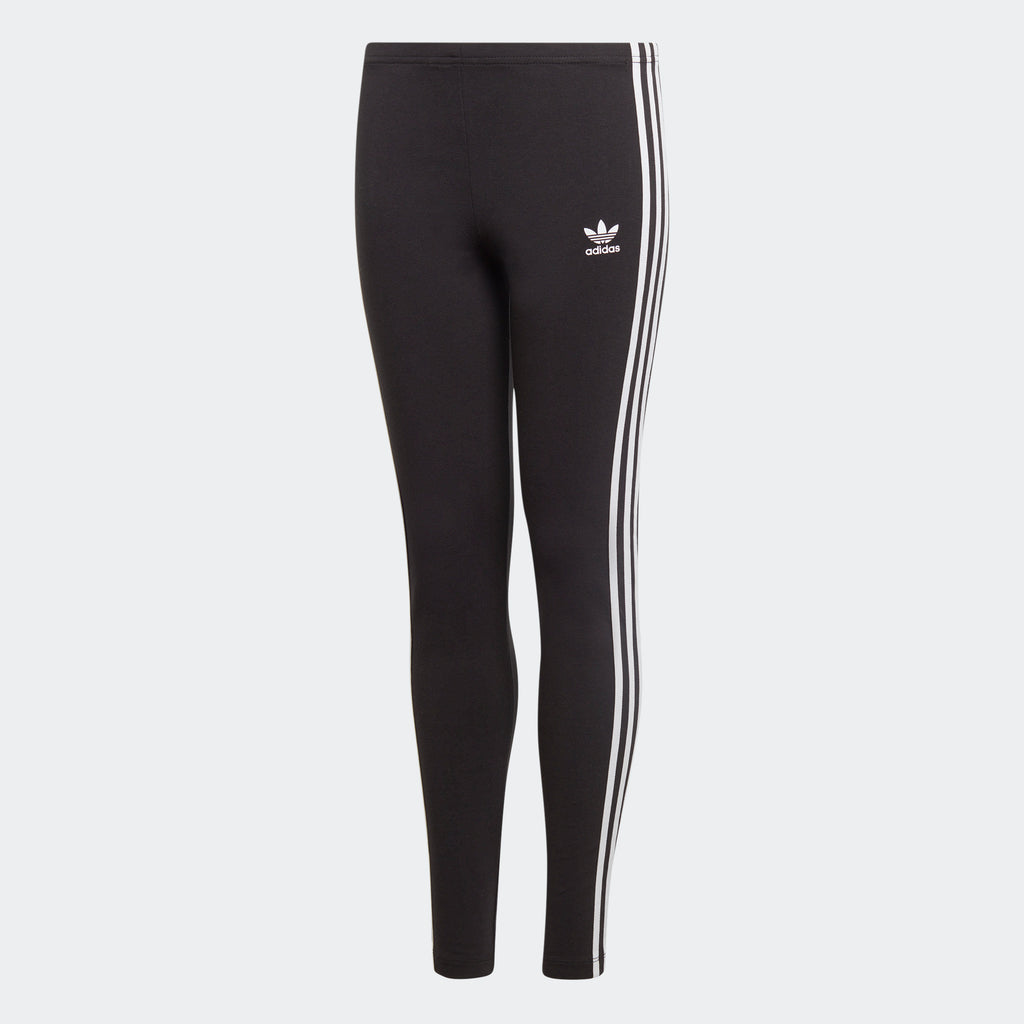 Kids' adidas 3-Stripes Leggings Black ED7820 | Chicago City Sports | front view