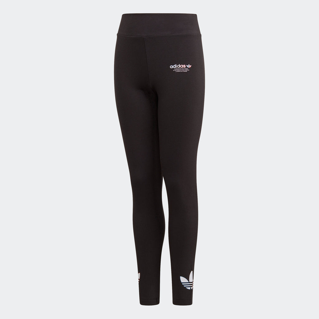 Kids' adidas Adicolor Leggings Black GN7477 | Chicago City Sports | front view