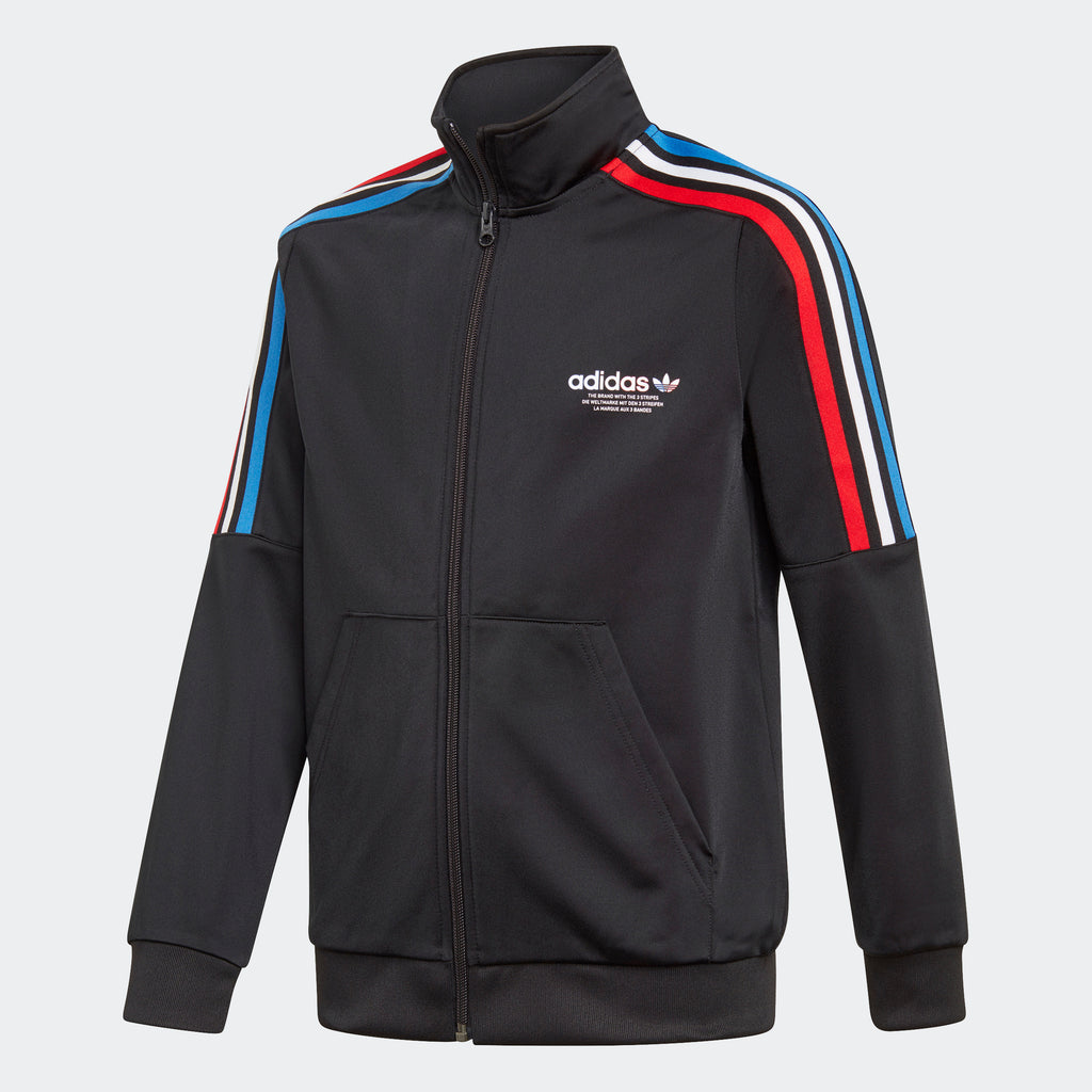 Kids' adidas Adicolor Track Jacket Black GN7482 | Chicago City Sports | front view