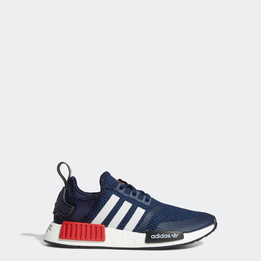 Kids' adidas NMD_R1 Shoes Collegiate Navy FV1693 | Chicago City Sports | side view