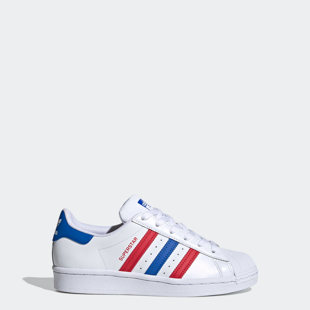 Kids' adidas Superstar Shoes Red White and Blue (SKU FW5851) | Chicago City Sports | side view