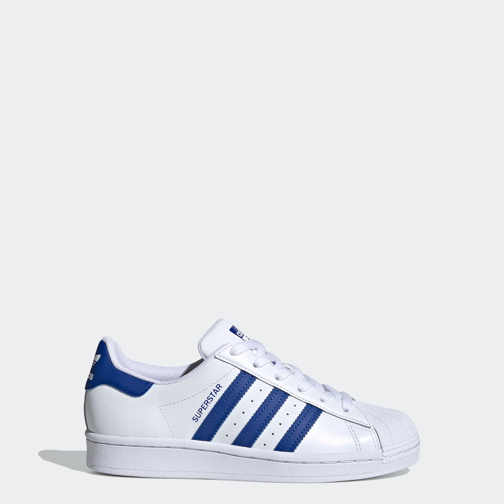 Kids' adidas Originals Superstar Shoes White Royal Blue