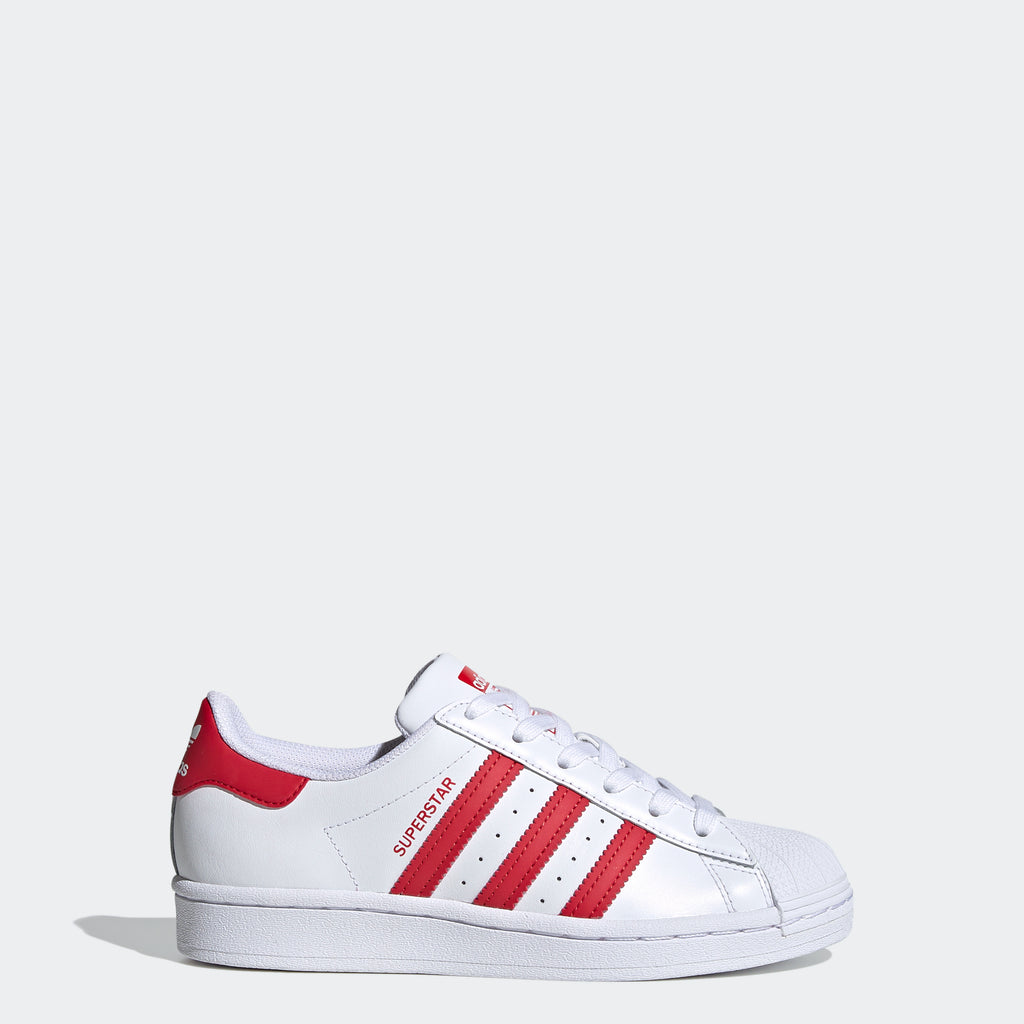 Kids' adidas Originals Superstar Shoes White Scarlet FW8293 | Chicago City Sports | side view