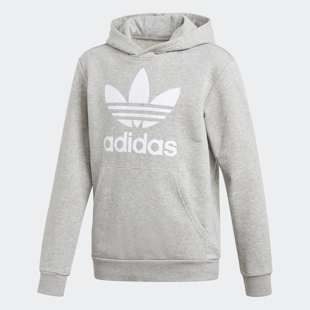Kids' adidas Trefoil Hoodie Grey GE1979 | Chicago City Sports | front view