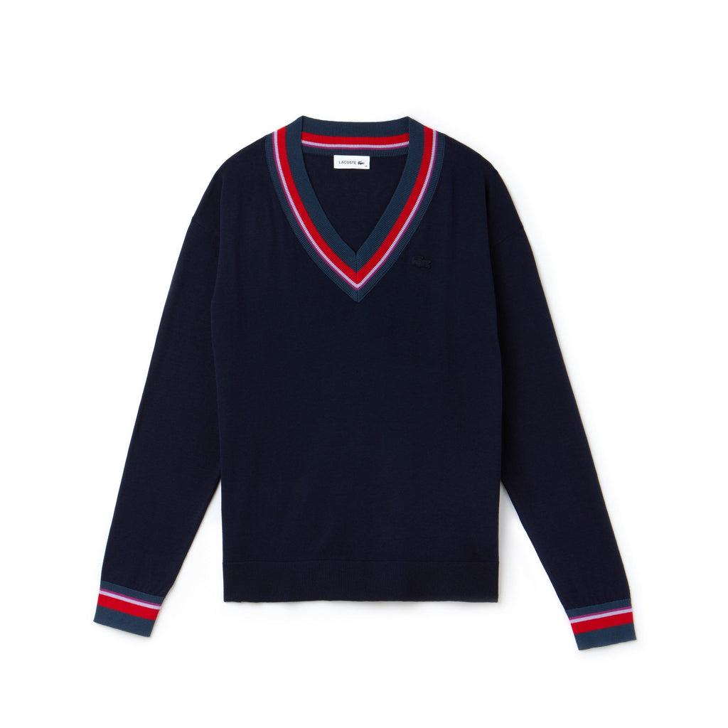 Women's Lacoste V-Neck Silk Cotton Sweater Navy Blue