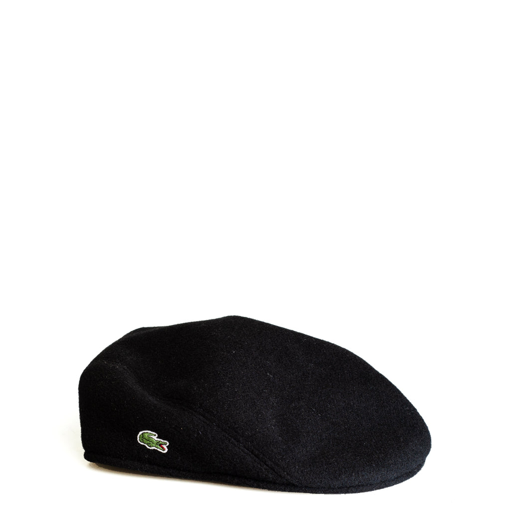 Men's Lacoste Wool Broadcloth Flat Cap Black