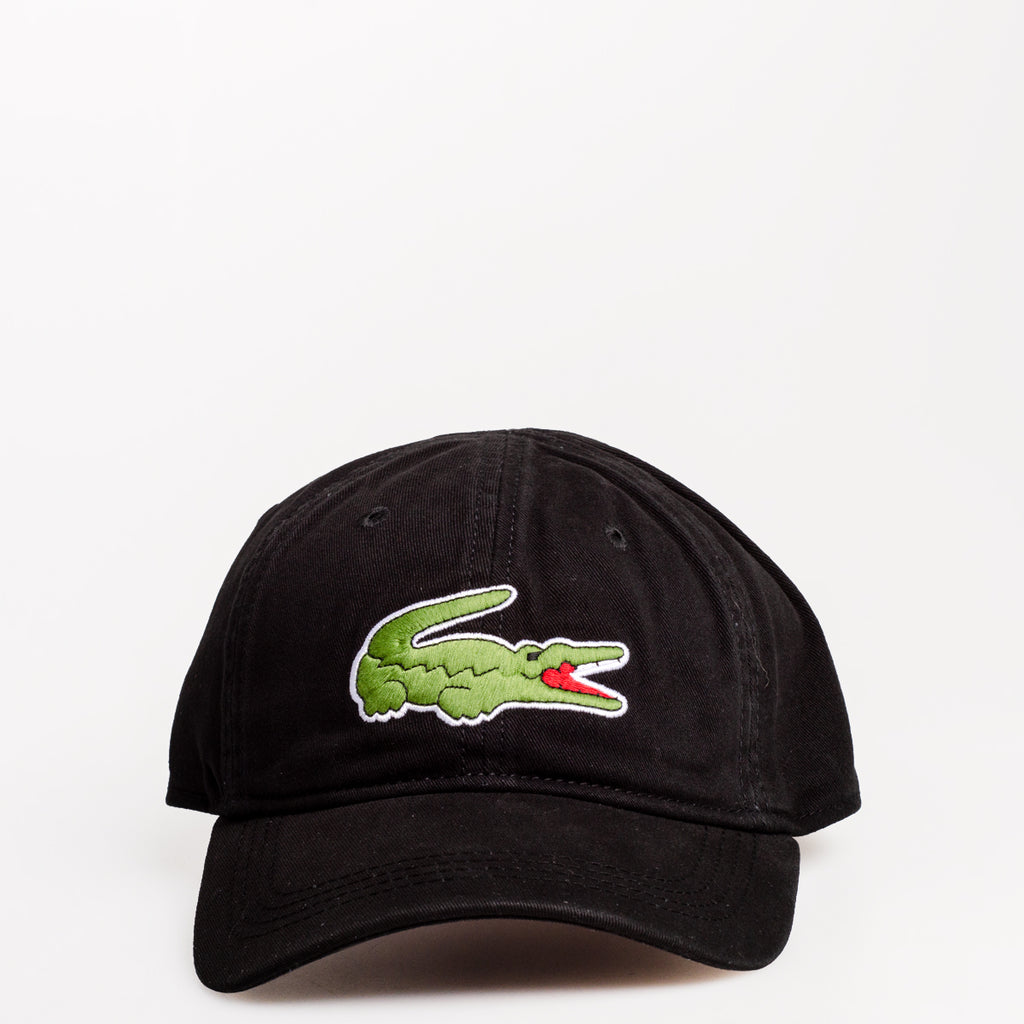 Men's Lacoste Big Croc Gabardine Cap Black RK8217031 | Chicago City Sports | front view