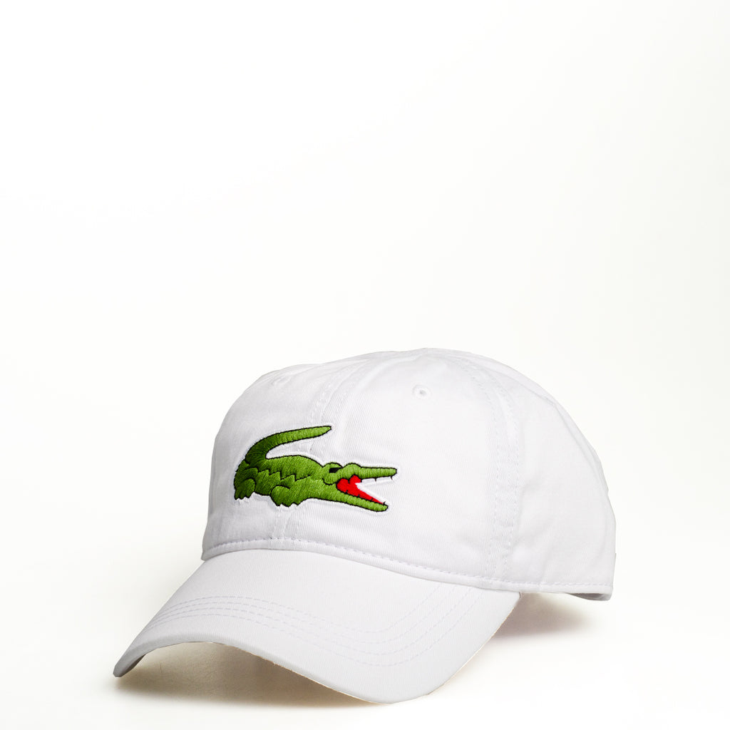 Men's Lacoste Big Croc Gabardine Cap White RK8217001 | Chicago City Sports | front view