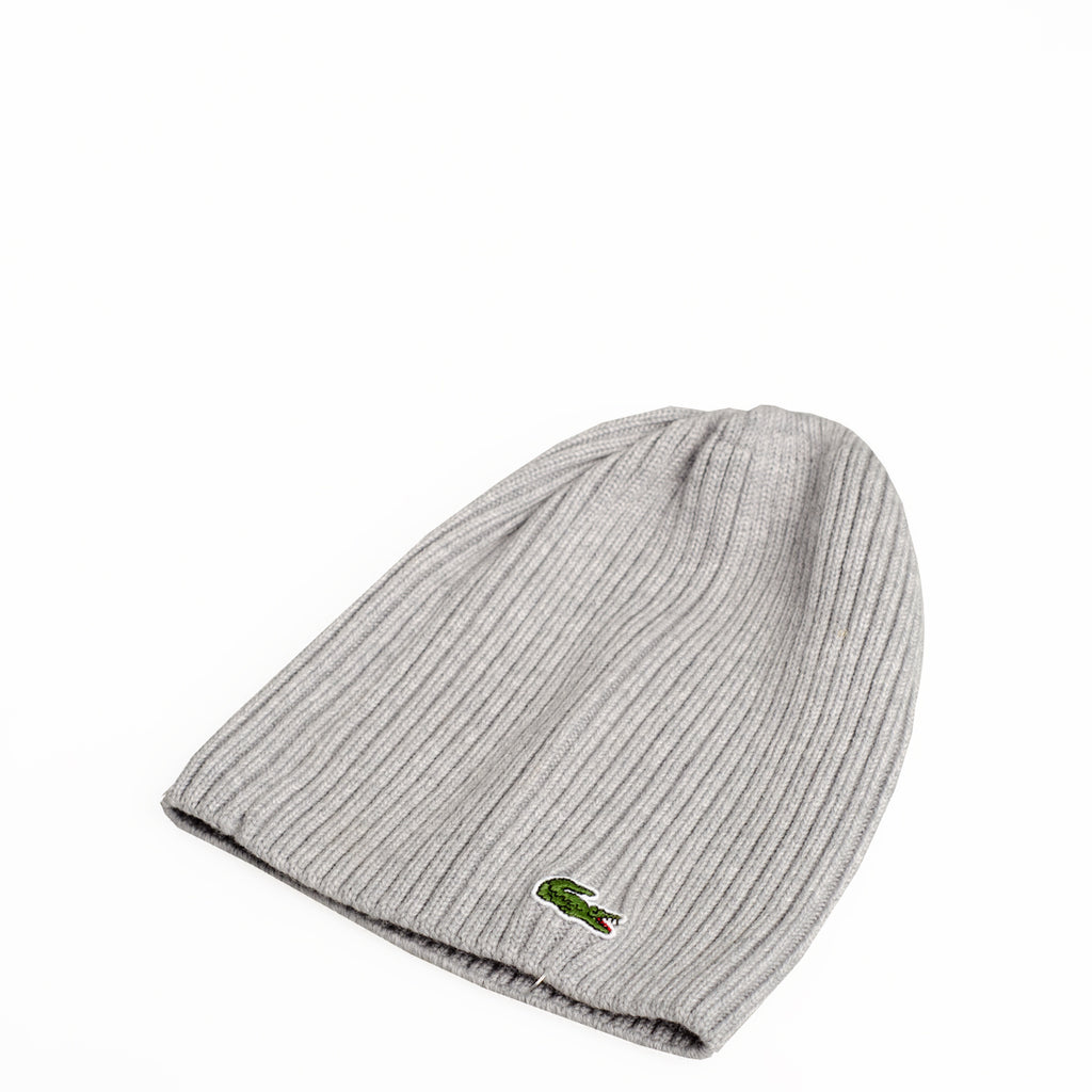 Men's Lacoste Ribbed Wool Beanie Light Grey