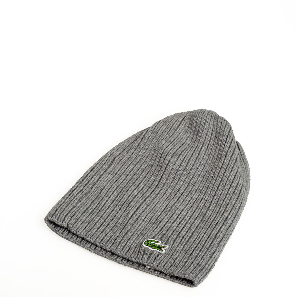Men's Lacoste Ribbed Wool Beanie Stone Grey