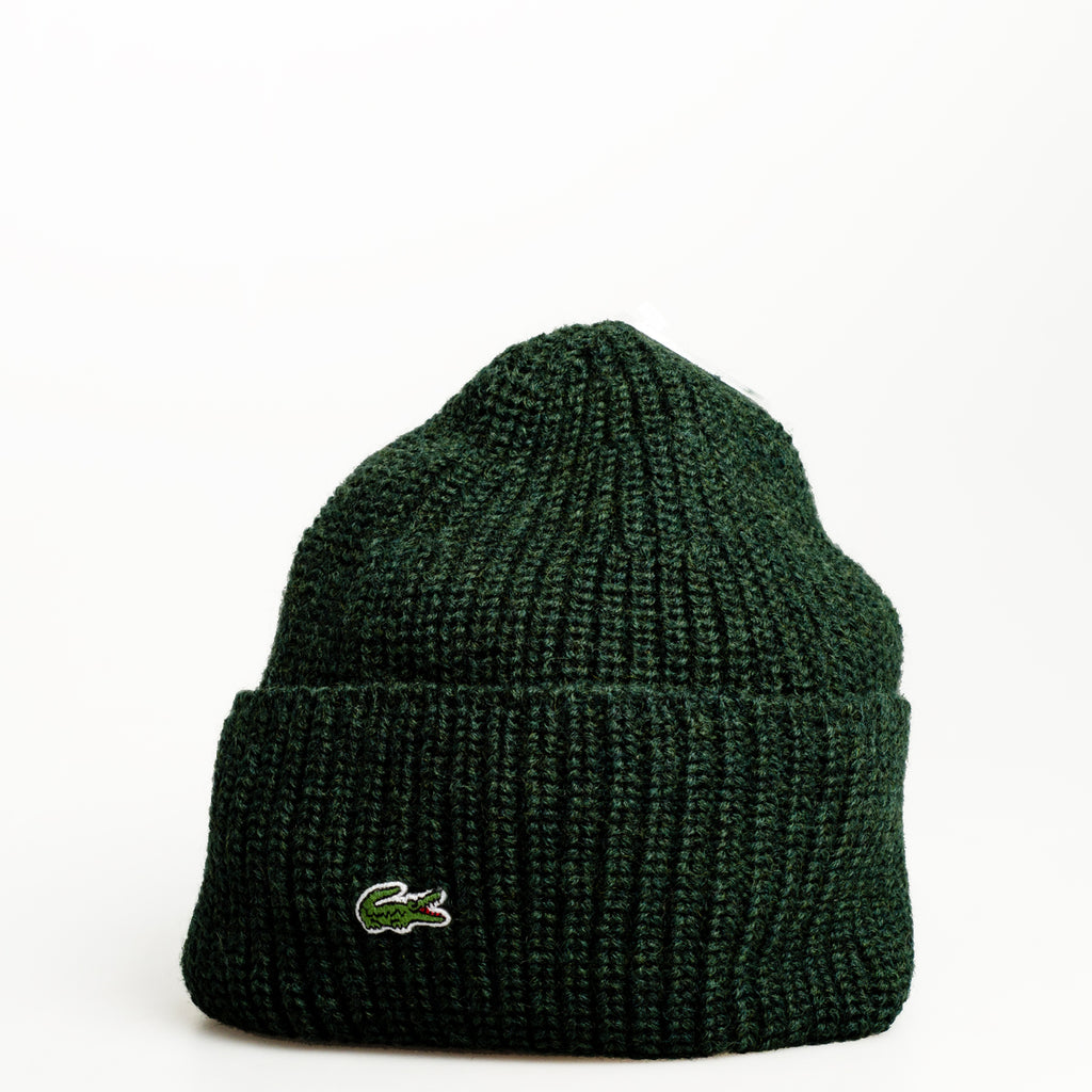 Men's Lacoste Turned Edge Ribbed Wool Beanie Forester Green