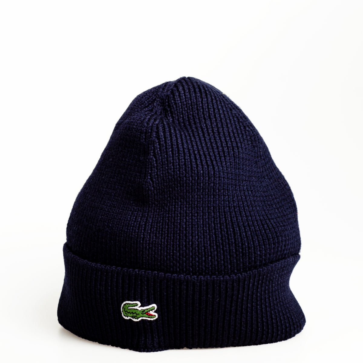 73825faded3 Men s Lacoste Turned Edge Ribbed Wool Beanie Navy Blue RB3502166 ...