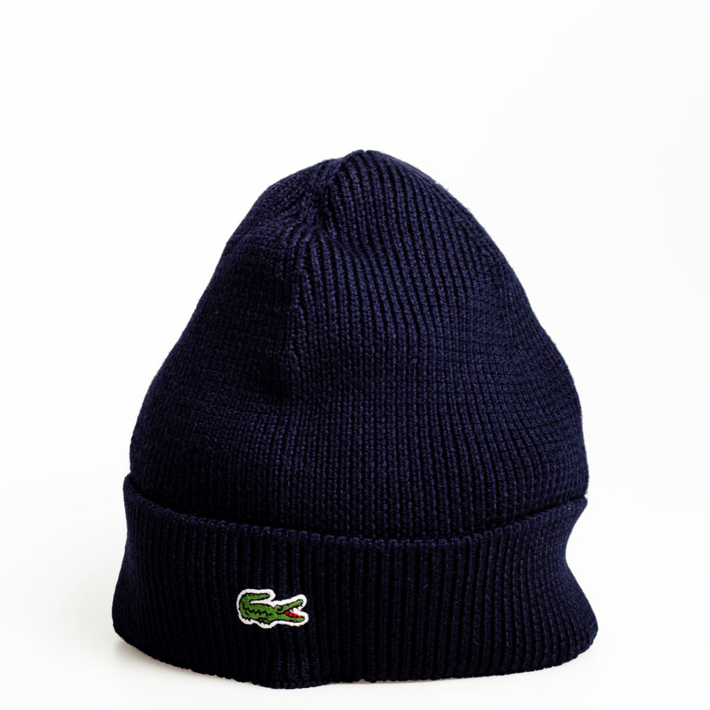 5100ecbabb6 Men s Lacoste Turned Edge Ribbed Wool Beanie Navy Blue