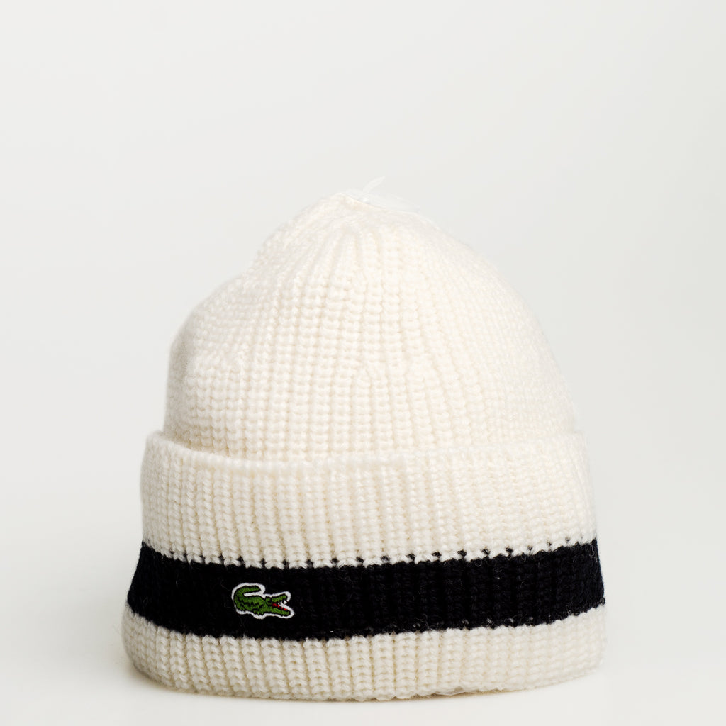 Men's Lacoste Turned Edge Ribbed Wool Beanie Vanilla Midnight