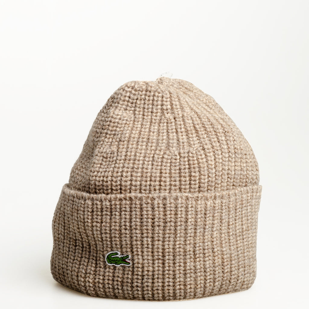Men's Lacoste Turned Edge Ribbed Wool Beanie Cork Beige