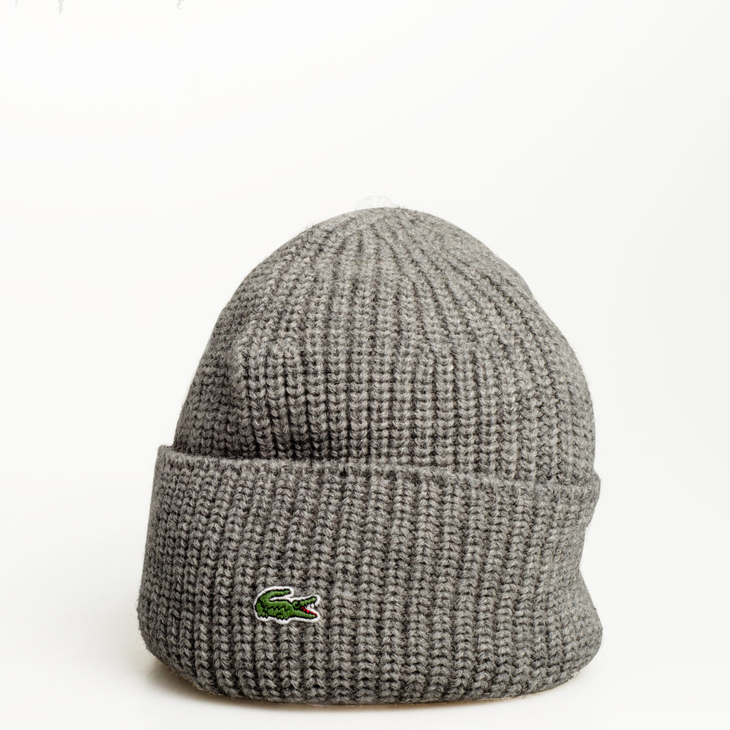 Men's Lacoste Turned Edge Ribbed Wool Beanie Grey