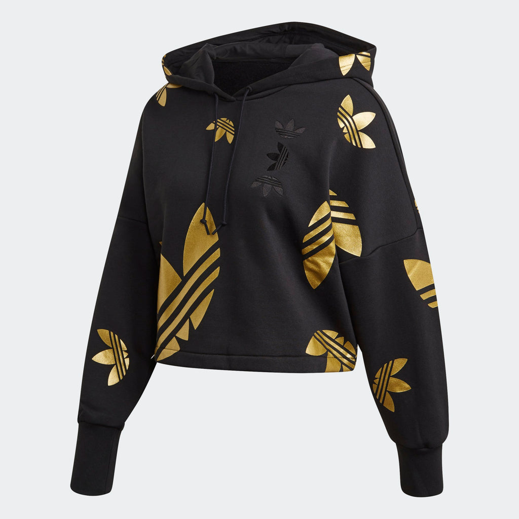 Women's adidas Originals Large Logo Cropped Hoodie Black Gold