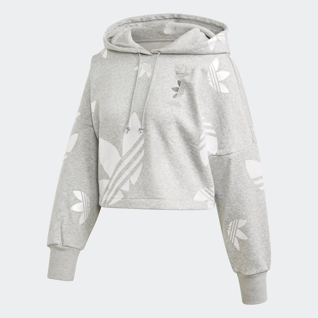 Women's adidas Originals Large Logo Cropped Hoodie Grey