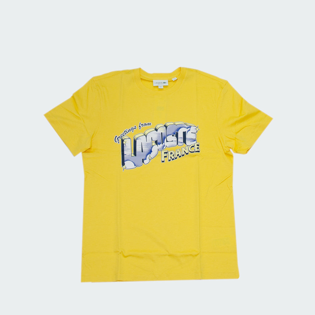 Men's Lacoste Graphic Print Tee Yellow TH5180Z0A | Chicago City Sports | front view