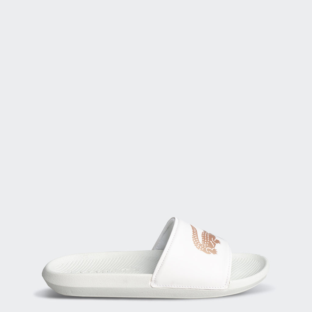 Men's Lacoste Croco Slides Off White (739CMA009106B) | Chicago City Sports | side view