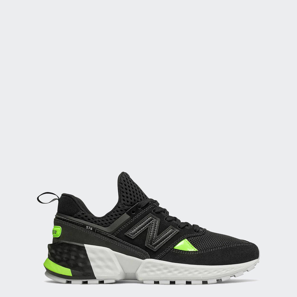 Men's New Balance 574 Sport Shoes Black Lime Glo