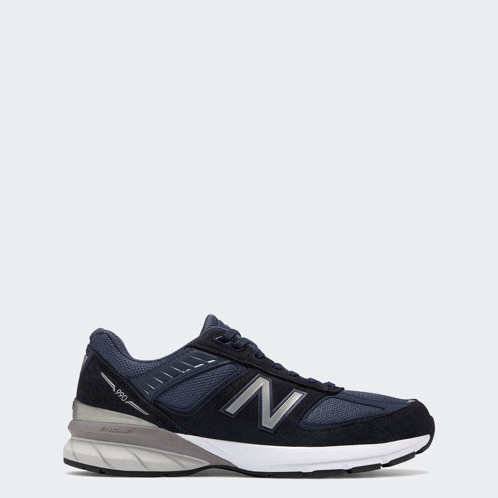 Men's New Balance 990v5 Made in US Navy Silver M990NV5 | Chicago City Sports | side view