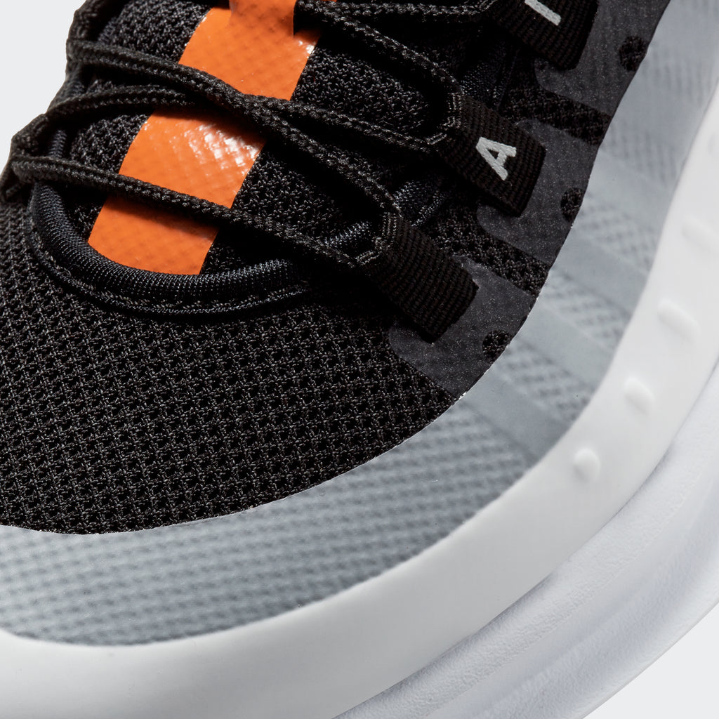 Men's Nike Air Max Axis Shoes Black Orange White (SKU AA2146-017) | Chicago City Sports | detailed toe area view