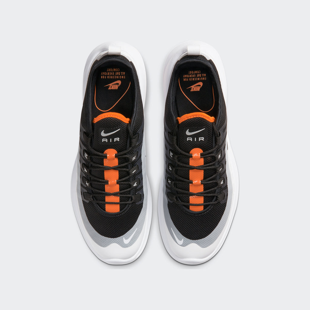 Men's Nike Air Max Axis Shoes Black Orange White (SKU AA2146-017) | Chicago City Sports | top view