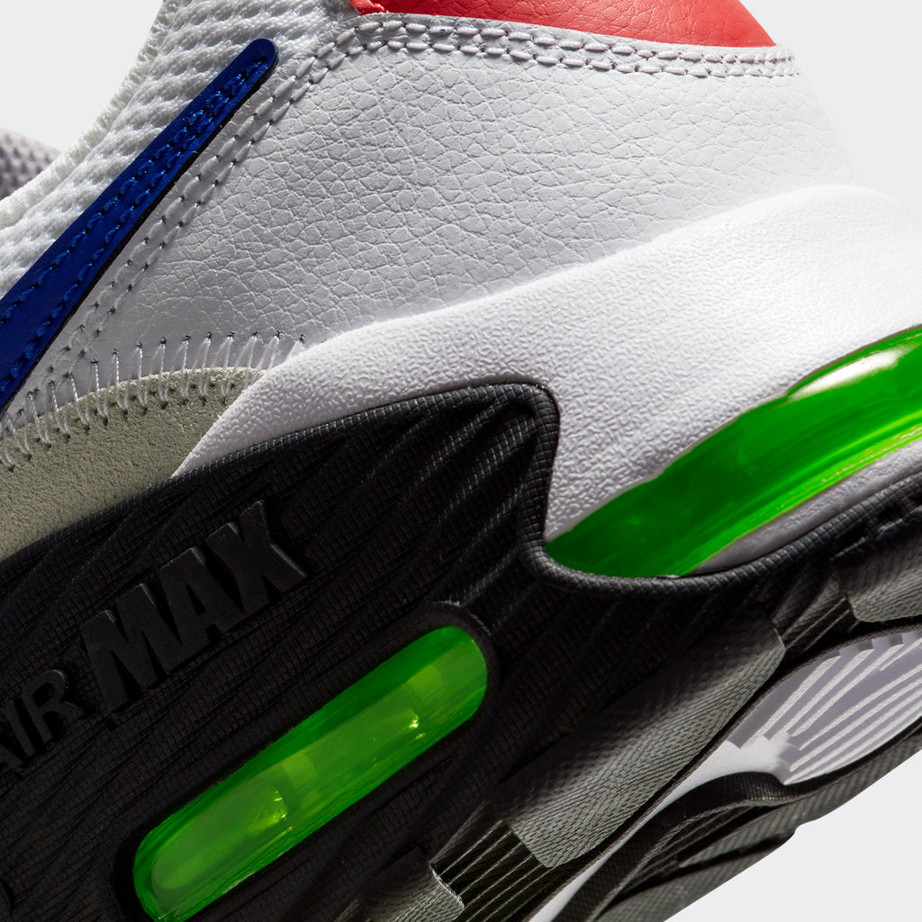 Men's Nike Air Max Excee Shoes White/Bright Cactus/Track Red/Hyper Blue (SKU CD4165-101) | Chicago City Sports | detailed Nike Air unit view