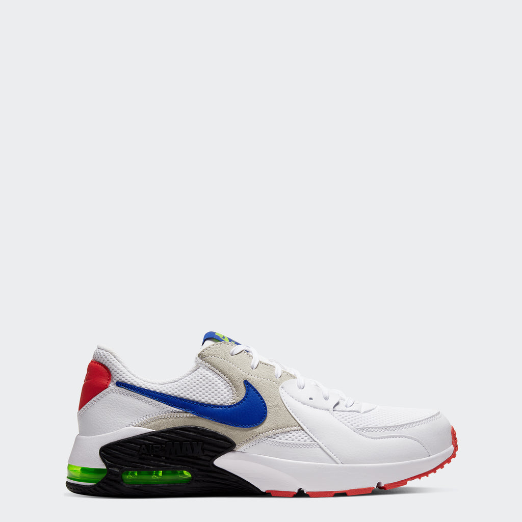 Men's Nike Air Max Excee Shoes White/Bright Cactus/Track Red/Hyper Blue (SKU CD4165-101) | Chicago City Sports | side view