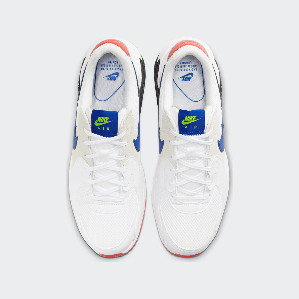 Men's Nike Air Max Excee Shoes White/Bright Cactus/Track Red/Hyper Blue (SKU CD4165-101) | Chicago City Sports | top view