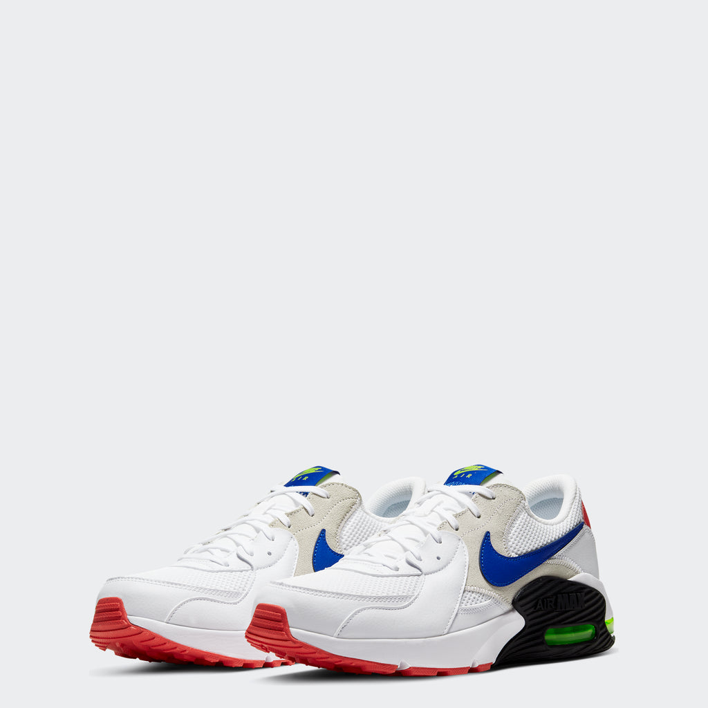 Men's Nike Air Max Excee Shoes White/Bright Cactus/Track Red/Hyper Blue (SKU CD4165-101) | Chicago City Sports | front view
